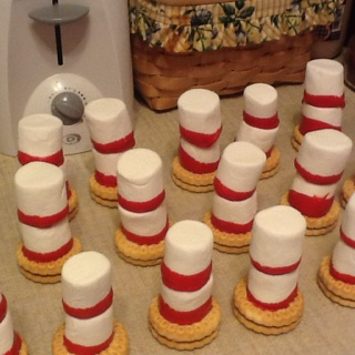 Treats we sent in for my daughter's class for Dr. Seuss' birthday- Cat in the Hat made from a cookie, and two marshmallows dipped in red chocolate and stacked:)