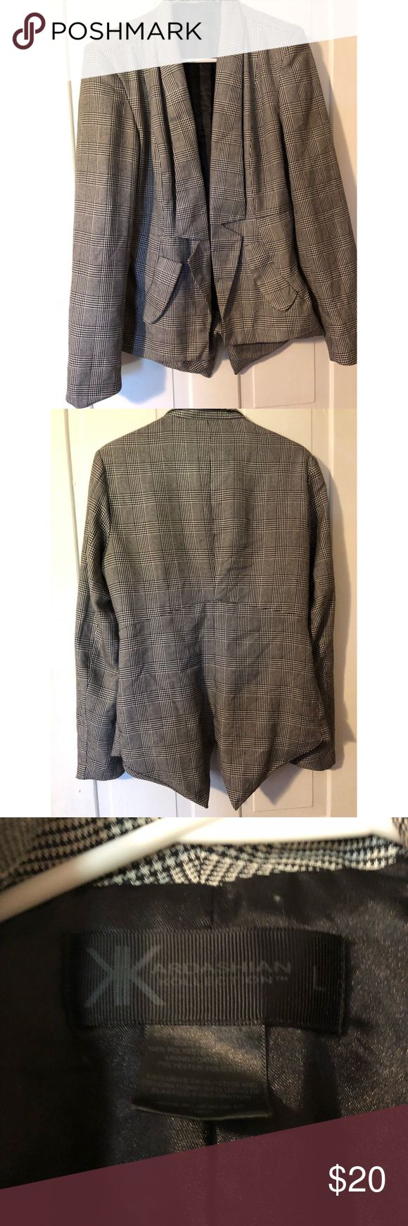 Kardashian Kollection Blazer Kardashian Kollection Blazer. Size large. Colors are grey, black, and white. Never worn! Kardashian Kollection Jackets & Coats Blazers