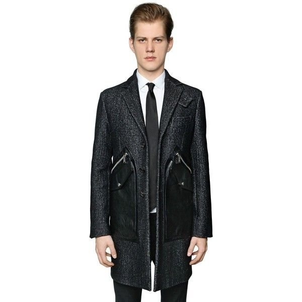 Dsquared2 Men Tokyo Wool Coat W/ Leather Pockets (€1.900) ❤ liked on Polyvore featuring men's fashion, men's clothing, men's outerwear, men's coats, mens fur lined coat, mens fur lined leather coats, mens coats and mens wool coats