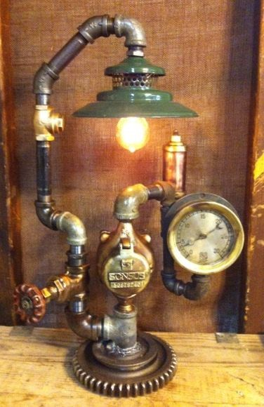 Steampunk lamp industrial art machine age light by Steamagedesign, $600.00