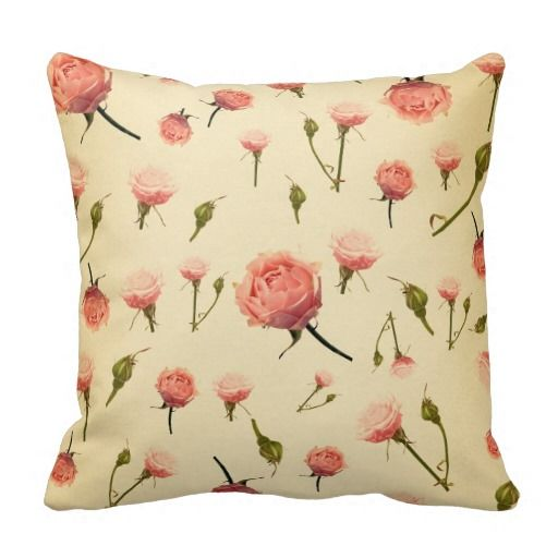 Retro chic floral pattern peach vintage red beige throw pillow Retro chic and Pillows