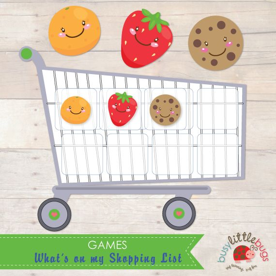 Busy Little Bugs Wha't on my Shopping List Game - Shopping cart matching game