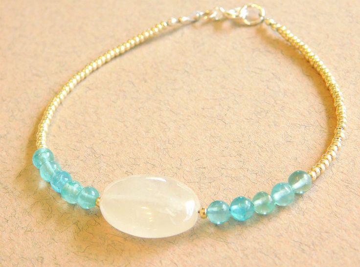 Beaded Crystal Quartz, Apatite Bracelet, Delicate Bracelet, Beaded Bracelet by jljewellerydesign on Etsy