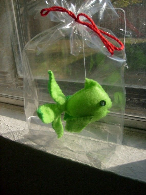 Felt fish in a bag