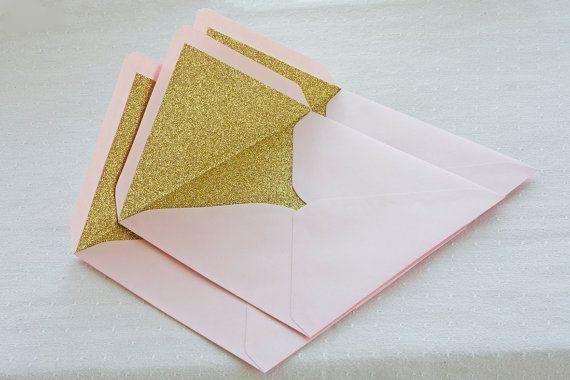 Gold glitter lined envelopes  Sparkly gold by TheWeddingInvitation