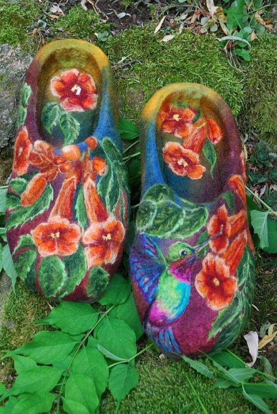 Felted Slippers Paradise EU size 41 ♥ by IrinaU on Etsy, $250.00
