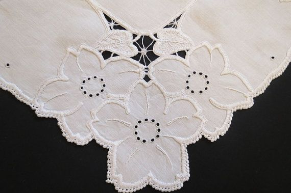Cutwork Tablecloth  1950s by LouisaAmeliaJane on Etsy
