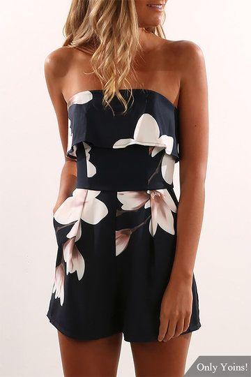Off Shoulder Random Floral Print Zip Design Playsuit US$17.95