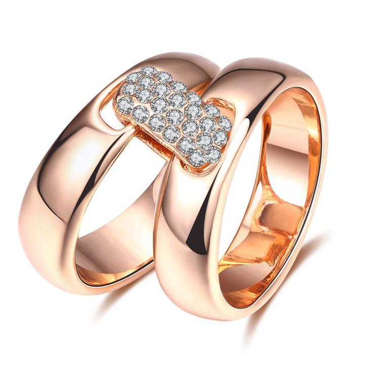 ROXI מותג רוז מצופה זהב טבעת לנשים מרובעים פראית אופנה סט של 2 טבעות זירקון תכשיטי גוף עבור Weeding מתנה לחג המולד