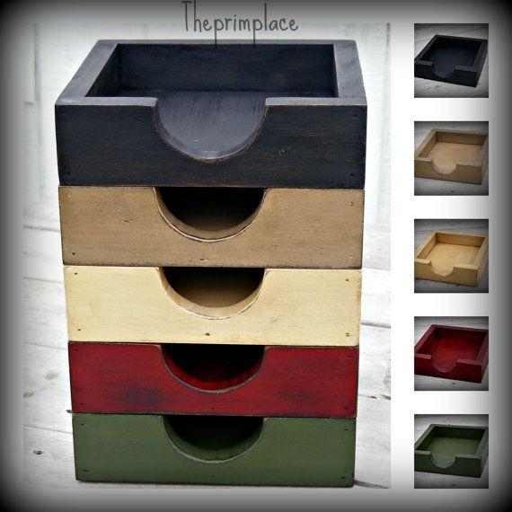 Primitive Wooden Napkin Box Napkin Holder--Color Choices