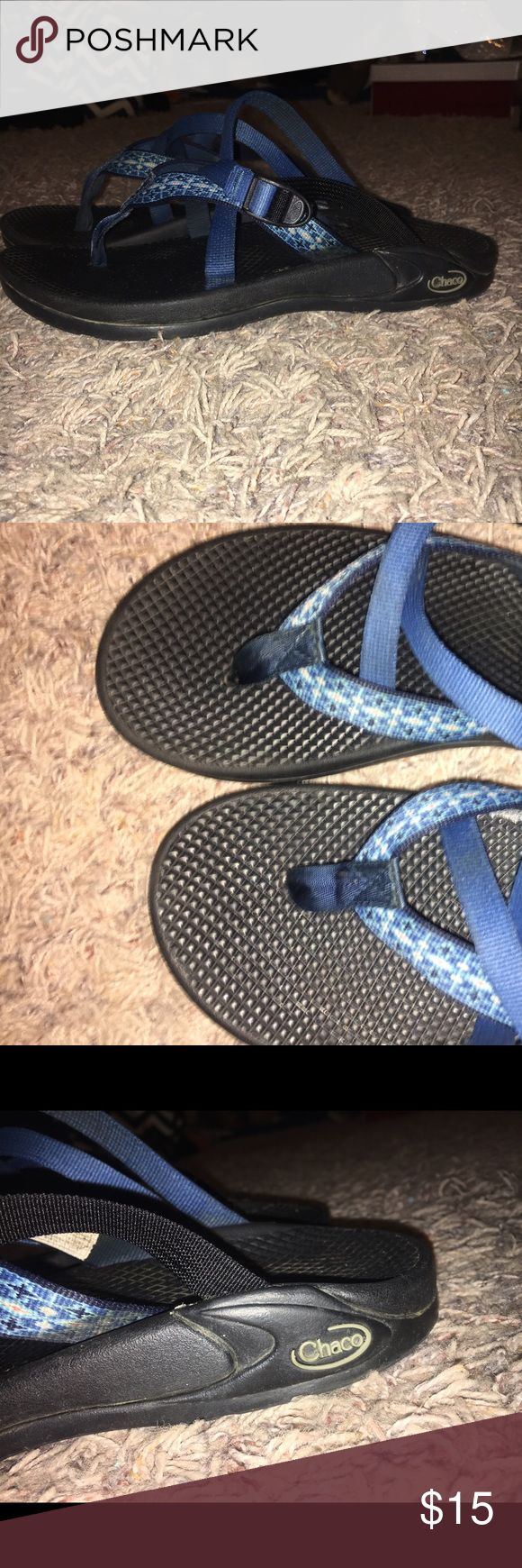 Women's Blue Chaco Sandals Blue Strappy Women's Chaco Sandals! Worn about three times, very comfy. Straps are adjustable! Size 9. Chaco Shoes Sandals