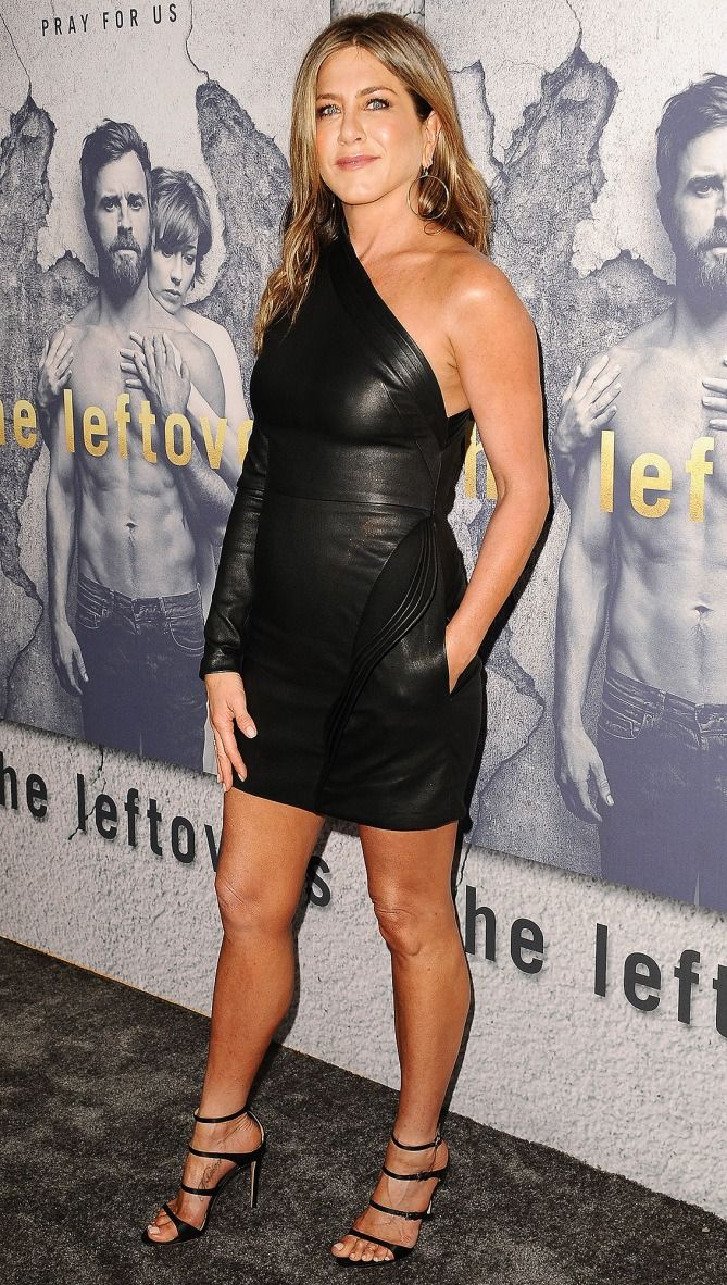 Jennifer Aniston in a one-shoulder black leather Brandon Maxwell LBD