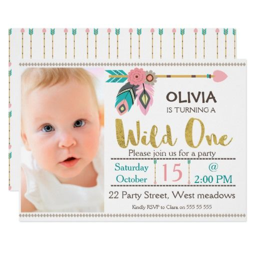 272 best 1st birthday party invitations images on pinterest 1st girls wild one arrow 1st birthday invitation stopboris Images