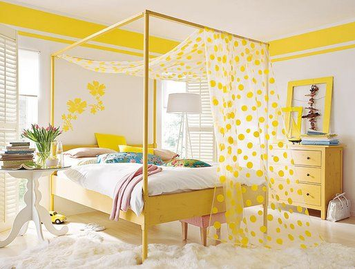 Happy Yellow Bedroom Guest Room Double Border On The Wall Bright Yellow Color Soo Fun Love The Sheer Polka Dot Canopy