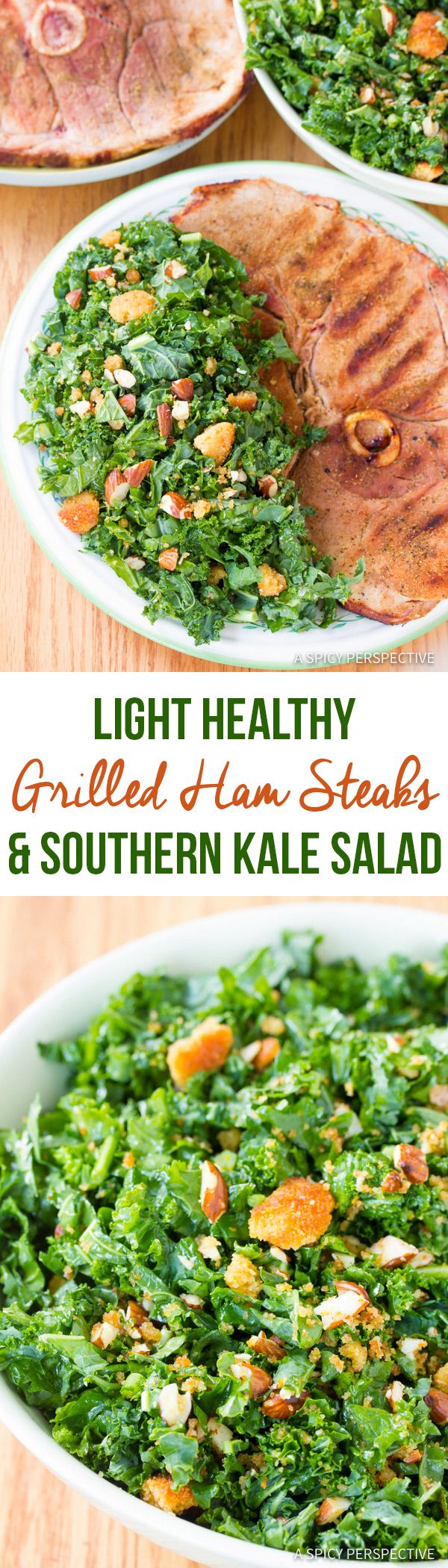 Light Healthy Grilled Ham Steaks with Southern Kale Salad | ASpicyPerspective.com via @spicyperspectiv