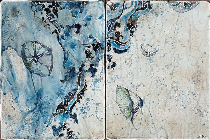 Belinda Fox, Title: Listen to Me II, 2011. Size: 30.5 x 46cm. Medium: Watercolour, encaustic, drawing on board