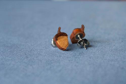 Acorn studs made from recycled venetian blinds - $15