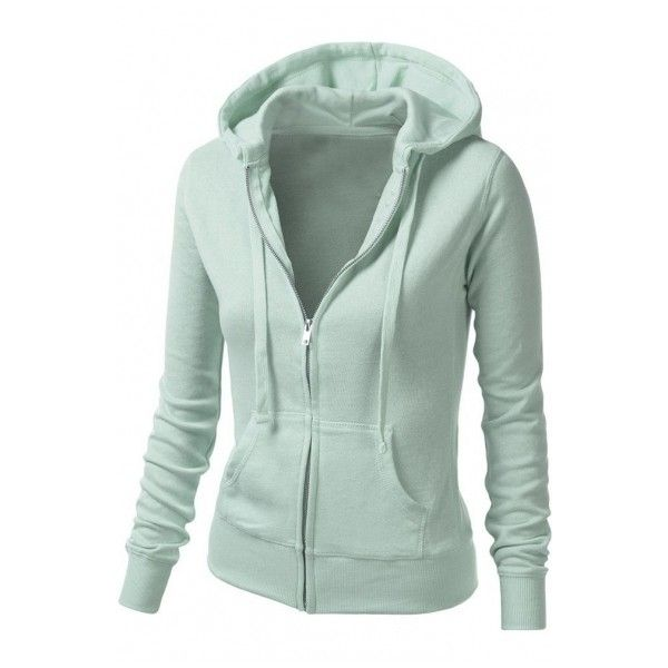 Women's Basic Solid Warm Casual Zip-Up Hoodie Jackets in Colors ($31) ❤ liked on Polyvore featuring tops, hoodies, zip hoodies, green zip up hoodie, sweatshirt hoodies, long zip hoodie and green zip hoodie