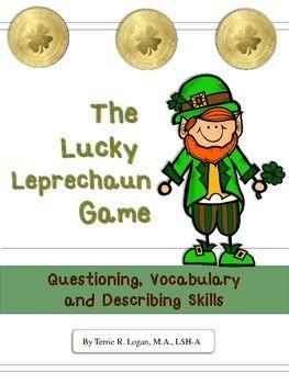 FREEBIE!! Lucky Leprechaun Game: Questioning, Vocabulary, Describing