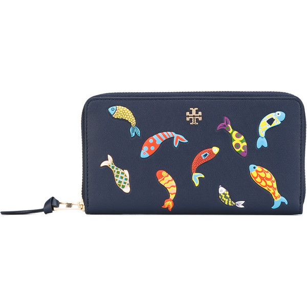 Tory Burch fish ziparound wallet (13.600 RUB) ❤ liked on Polyvore featuring bags, wallets, blue, genuine leather wallet, blue wallet, leather bags, tory burch bags and blue leather bag
