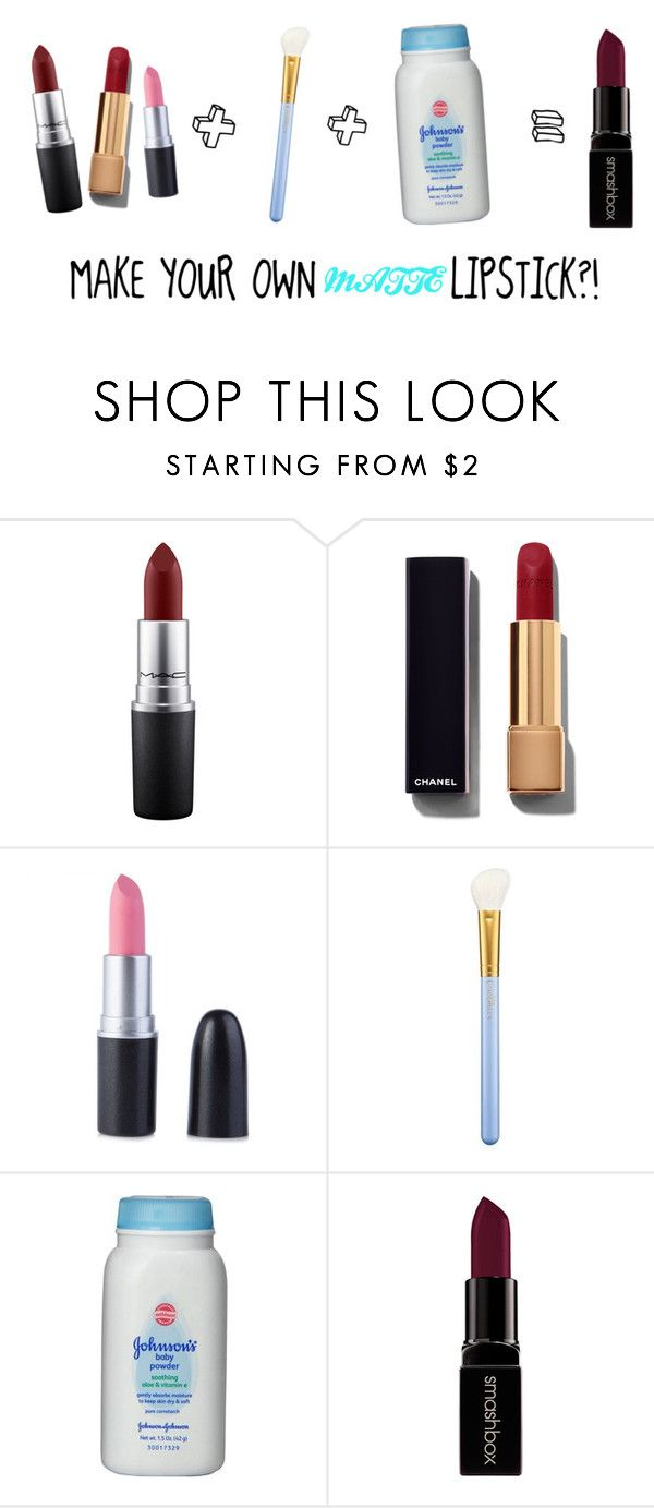 """MAKING DIY Matte Lipstick"" by stylesbysophia ❤ liked on Polyvore featuring beauty, MAC Cosmetics, Chanel, Johnson's Baby and Smashbox"