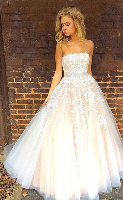 white lace tulle long prom dress, white lace evening dress for teens, lace formal dress