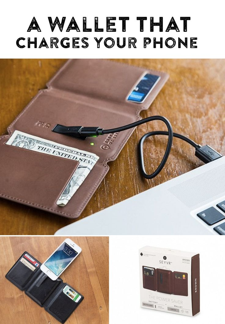 Keep your phone or tablet charged while you're on the go with this surprisingly thin leather wallet. Holds six cards and your cash, too.