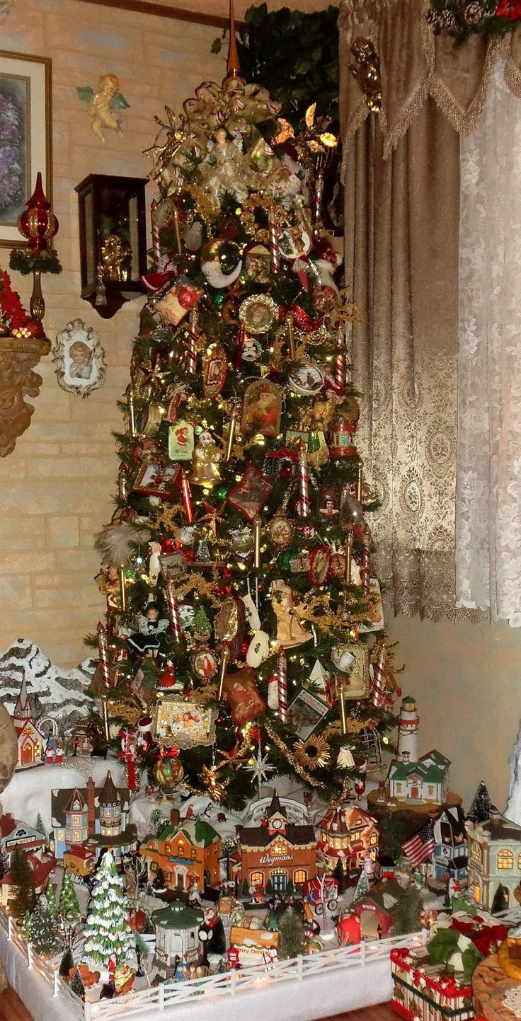 A DEBBIE-DABBLE CHRISTMAS: A Tale of 2 Christmas Trees and a Villlage in the Living Room, Christmas Home Tour, 2016
