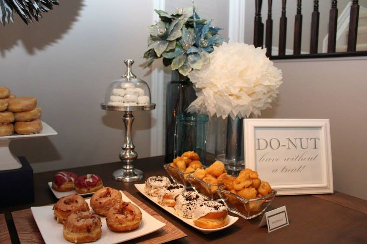 Masculine Birthday Dessert table. Dessert table with a masculine twist. This is the perfect dessert table for the man in your life. Donuts are so versatile and were the perfect choice to celebrate this birthday. Don't forget to take a shot!