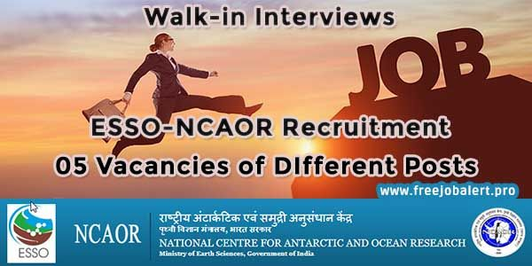 Apply Online for the Latest Vacancies announced under ESSO-NCAOR Recruitment 2018 for 05 different posts. Check out all the govt. job alert details, eligibility, age limit, educational qualifications, application fees, selection process, important dates & links with Official Notification / Advt. in PDF format.