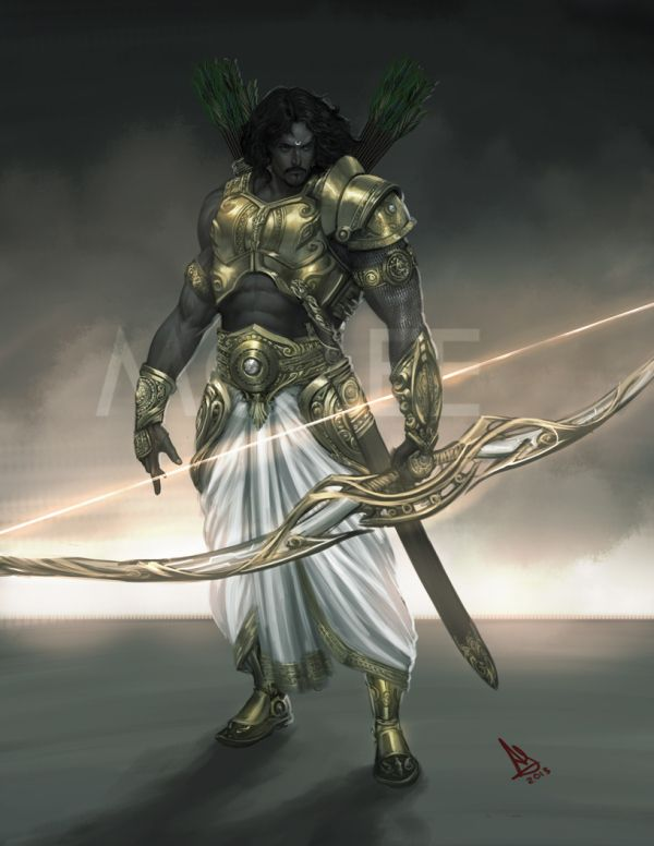 Absolutely stunning illustrations of Hindu Gods and Goddesses - wish I knew who the artist was! {Arjun - The Warrior Prince}