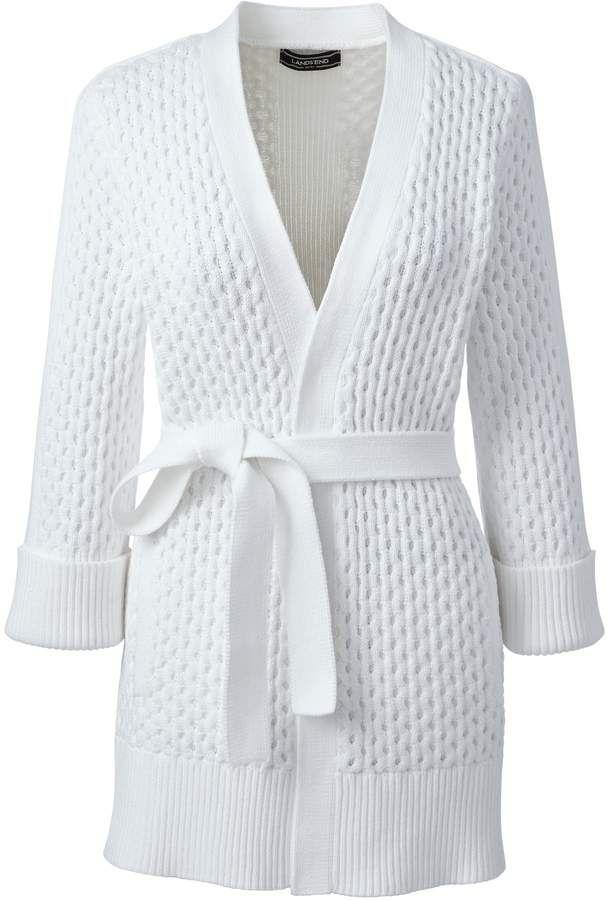 Landsend Womens Petite Drifter Cotton 34 Sleeve Cardigan Sweater