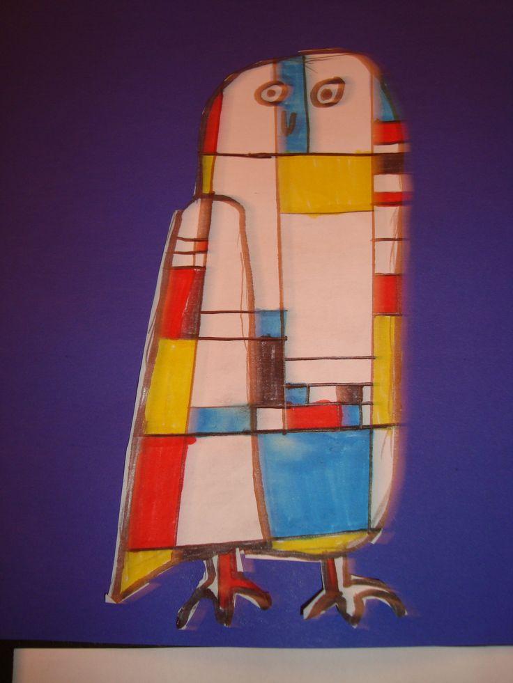 Een uil in Mondriaan stijl. Kinderen groep 5/6 OBS Woold