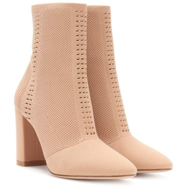 Gianvito Rossi Vires Knitted Ankle Boots ($1,215) ❤ liked on Polyvore featuring shoes, boots, ankle booties, beige, ankle boots, beige ankle booties, beige boots, bootie boots and short boots