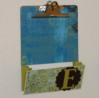DIY clipboard. Check out the initial! COST-Similar to other clipboards with extra envelope for filing app $5