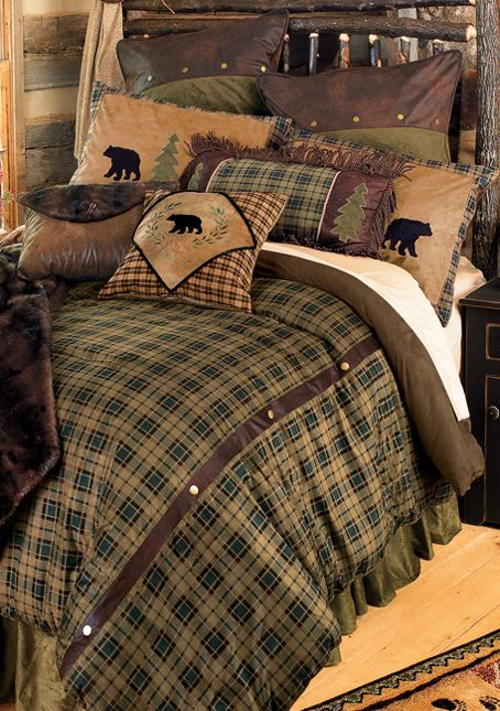 Alpine Bear Log Cabin Bedding.  The downstairs bedroom..  :)  Tristan's room.. @Amanda Snelson Snelson Woodard