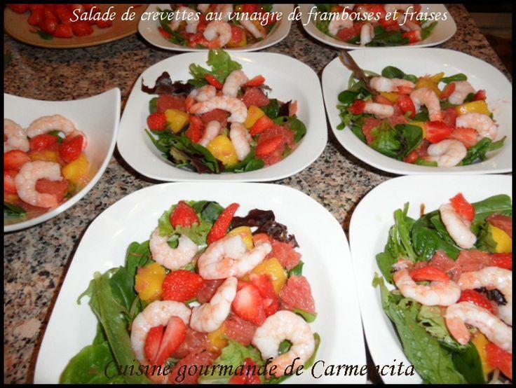 Salade de crevettes à la vinaigrette de framboises et faises http://www.carmen-cuisine.com/article-salade-de-crevettes-a-la-vinaigrette-de-framboises-et-fraises-78647245.html