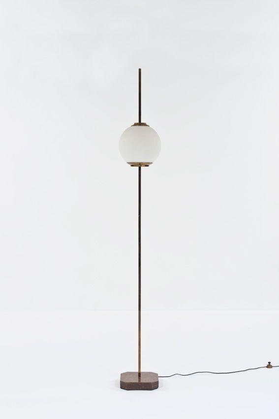 Luigi Caccia Dominioni; Brass and Glass Floor Lamp for Azucena, 1958.