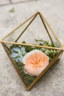 Chic + modern geometric floral arrangement: http://www.stylemepretty.com/texas-weddings/dallas/2015/08/19/intimate-romantic-dallas-spring-wedding/ | Photography: Ben Q. Photography - http://benqphotography.com/