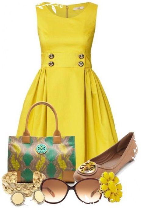 love this sunny dress with the tory burch bag and shoes! super cute sunnies too!