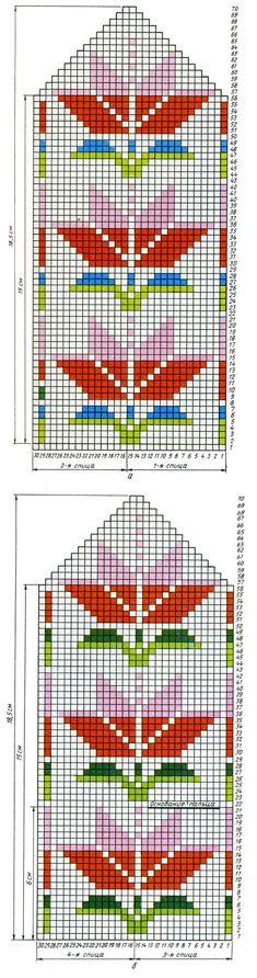 Свяжите сами / Начальная страница coloourwork mittens chart - votter mønster
