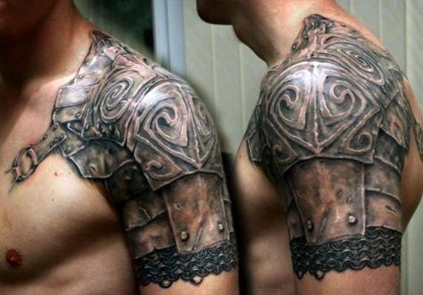 pancerz tatuaż na ramieniu dla faceta #tattoo