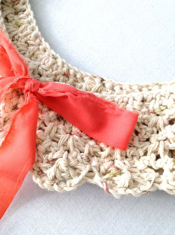 Peach and cream romantic crochet peter pan collar on Etsy, $15.00