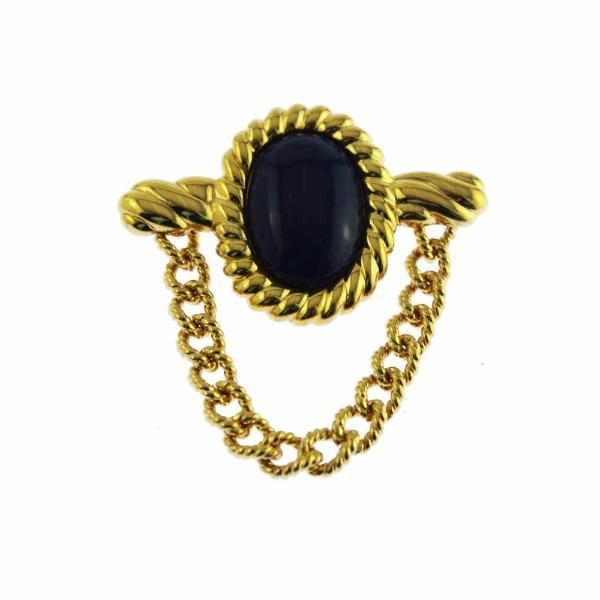 Monet Black and Gold Chain Brooch