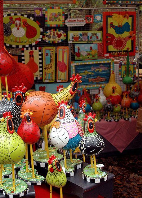 Gourd Chickens paper mache