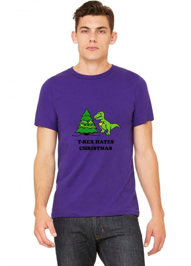 t rex hates christmas tree sad gift decoration T-Shirt