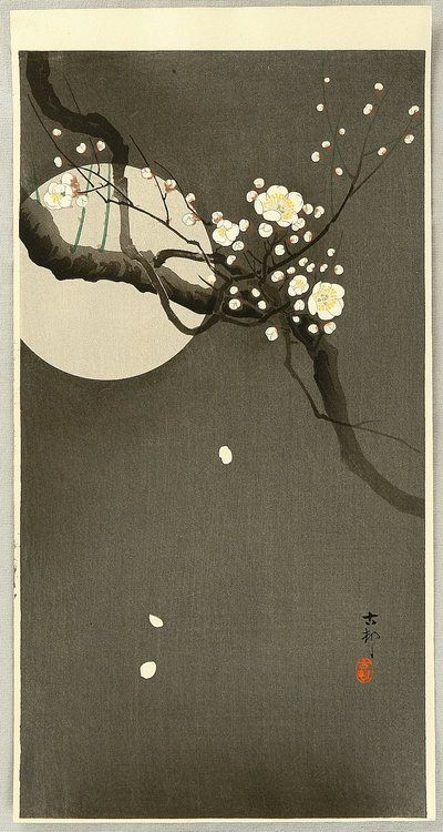 "Ohara Koson, ""Flowering plum and moon"""