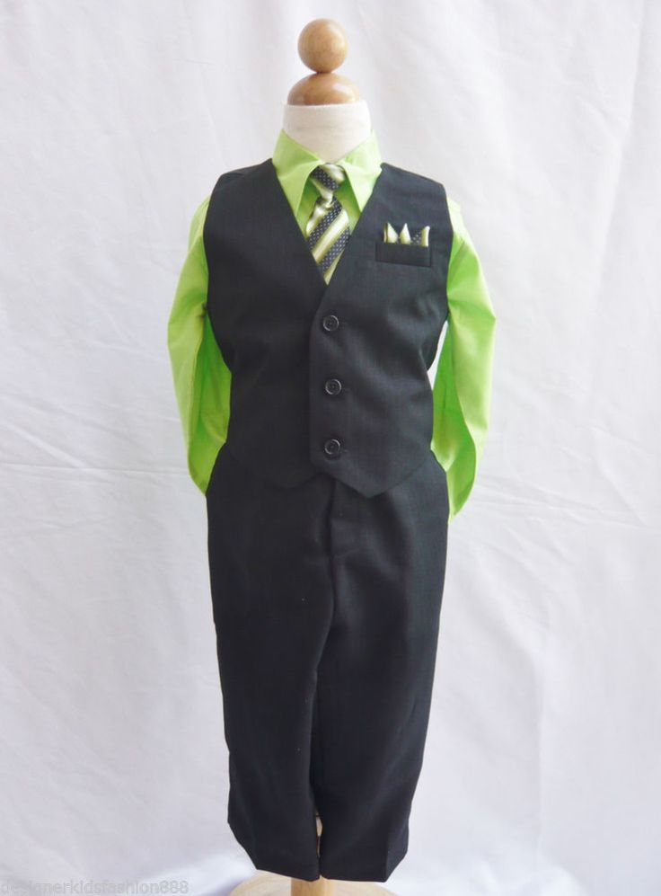 Details About Black Apple Green Boys Vest With Neck Tie