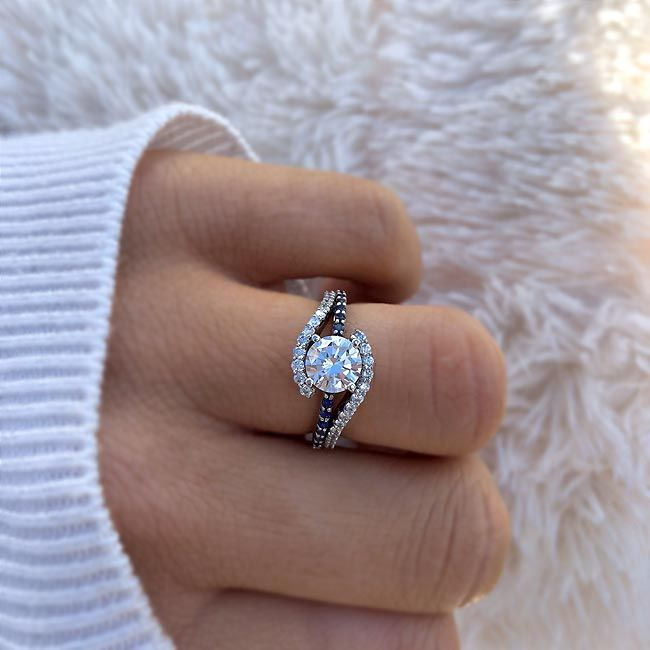 Barkev's Moissanite Engagement Ring With Blue Sapphires MOI ...
