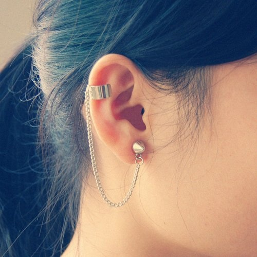 Fashion Lady Spike Stud Chain Linked Ear Cuff Earrings I love how they're not real piercings